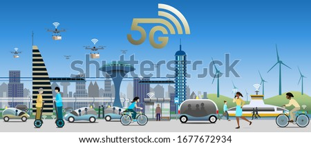 5G technology for public transport environment. Traffic lights and street lights with IoT for smart function. Drones for fast deliveries. Electrified vehicles, buses, ferries, trains and bicycles.