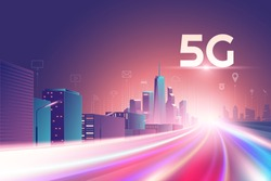 5G wireless network. 5th internet service, night urban city with things and services icons connection, internet of things, 5G network wireless with high speed connection and  Mobile connectivity