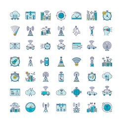 5G wireless technology RGB color icons set. World standard. Improved Internet signal. Mobile cellular network. Cloud computing. Data transmission. Isolated vector illustrations