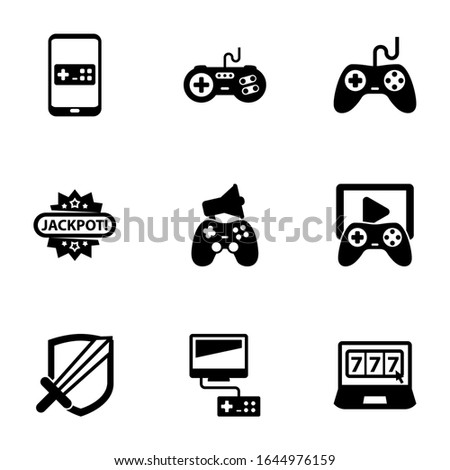 9 gaming filled icons set isolated on white background. Icons set with Mobile game, joystick, Gaming, Jackpot, In-game Advertising, Game streaming, RPG, Video games, online casino icons.