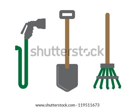 3 Garden Tool Icons. Hose with Spray Nozzle, Shovel and Rake.