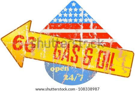 gas station sign, grungy vector illustration - stock vector