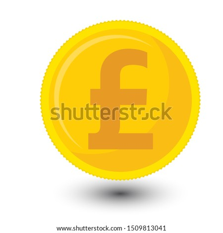 £,GBP,Vector money Great British Pound Sterling sign (Sterling coin icon) isolated on white background. Golden GBP coin symbol design, Great Britain currency banking concept illustration.