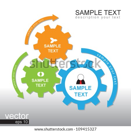 3 gear color vector for business plan, can use for business concept, education diagram, brochure object.