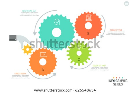 4 gear wheels with icons inside