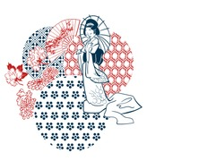 geisha woman umbrella fan circles japanese chinese vector design pattern card