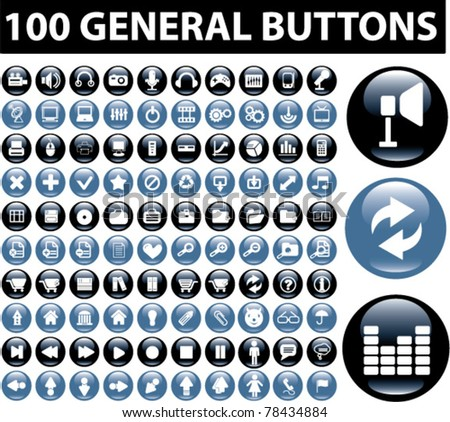 100 general buttons, icons, signs, vector illustration