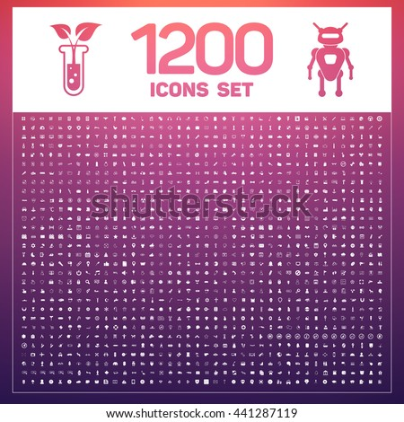 1200 General Icons Set. Universal Icons pack
