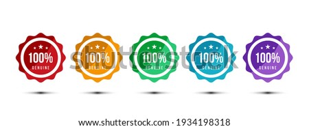 100% genuine logo or icon badge with stars in rounded guarantee shape. Get used to Certified, Guarantee, Warranty, Assurance, etc. Vector illustration design template. Foto stock ©