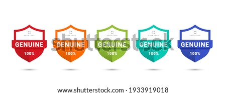 100% genuine logo or icon illustration template with stars in shield shape badge. Get used to Security, Certified, Guarantee, Warranty, Assurance, etc. Vector illustration design template.