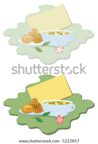 """Get well"" double vignette, with a blank card for your message, a bowl of chicken soup and baked goodies, in pastel and bright coloured versions (vector illustration)"