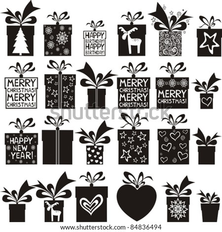 24 gift box icons  isolated on White background. Vector illustration