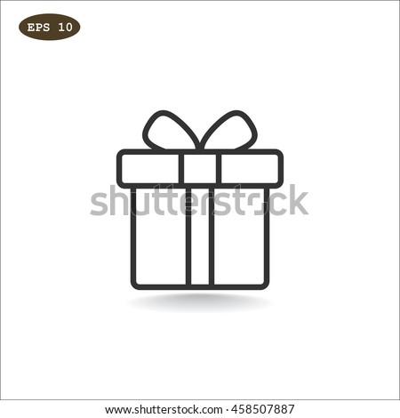 Gift icon flat.