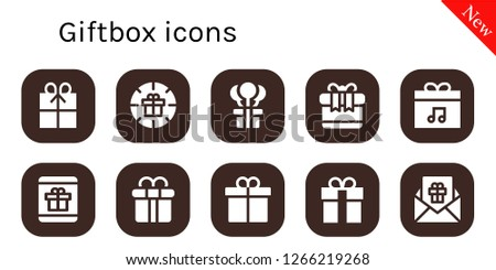 giftbox icon set. 10 filled giftbox icons. Simple modern icons about  - Gift, Present, Gift box