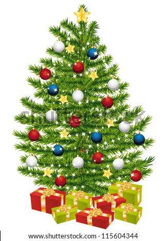 Gifts under a beautiful and decorated christmas tree.
