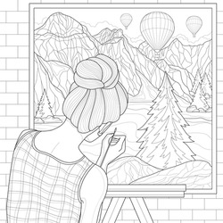 Girl artist paints a landscape on canvas: mountains, balloons and a lake.Coloring book antistress for children and adults. Illustration isolated on white background. Outline style.