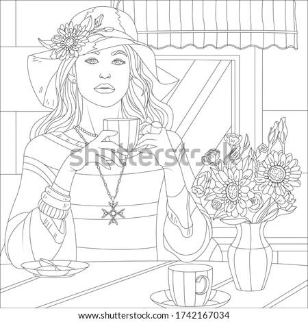 А girl drinks from a cup near a cafe. Coloring page Сток-фото ©