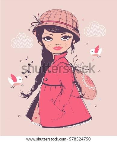 girl hand drawn vector