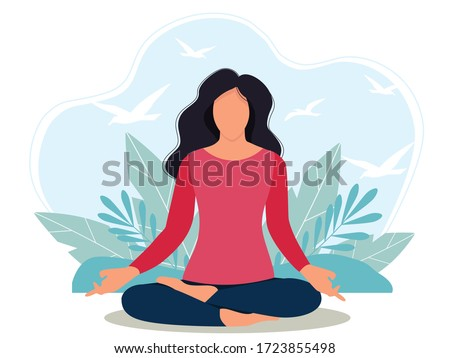 girl in lotus position meditates at home. flat style vector illustration