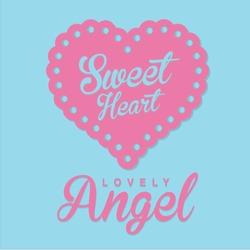Girl Love angel typography, t-shirt graphics, vectors