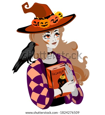 girl witch in a hat with