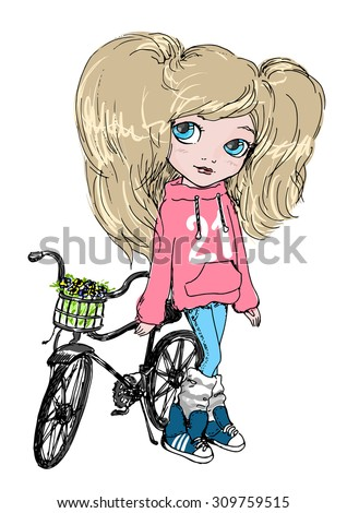 girl with a bicycle cute