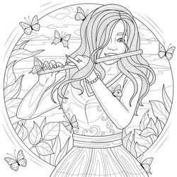 Girl with flute and butterflies.Coloring book antistress for children and adults. Illustration isolated on white background.Zen-tangle style.