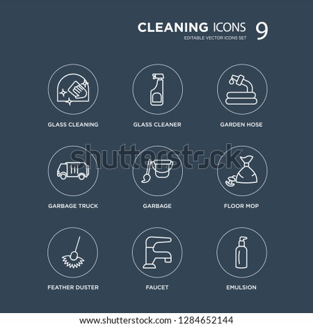 9 Glass cleaning, cleaner, Feather duster, Floor mop, Garbage, Garden hose, Garbage truck, Faucet modern icons on black background, vector illustration, eps10, trendy icon set.