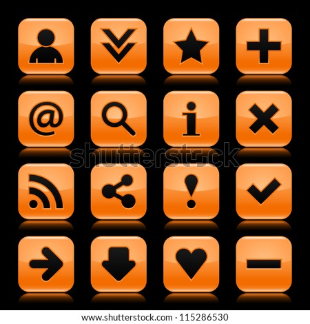 16 glass orange icon with black basic sign. Rounded square shape web button with color reflection on dark black background. Vector illustration design elements saved in 8 eps