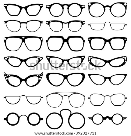 Glasses model icons, man, women frames. Sunglasses, eyeglasses isolated on white.  silhouettes. Different shapes, frame, styles.  Vector illustration on white background.