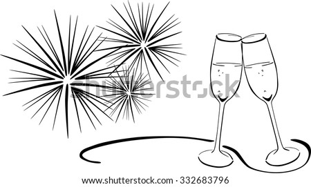 2 glasses with sparkling wine new years eve toasting