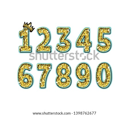 Glitter numbers with glitter and stroke on a blue background. Numbering for the holiday, birthday, celebration, postcard.