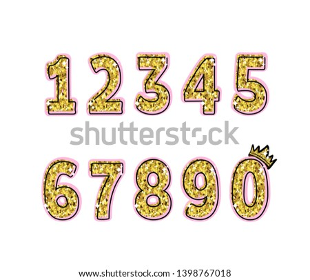 Glitter numbers with glitter and stroke on a pink background. Numbering for the holiday, birthday, celebration, postcard.
