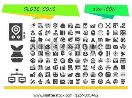 globe icon set. 120 filled globe icons. Simple modern icons about  - Gps, Network, Plant, Sputnik, Web, Map, Earth grid, Email, Globe, Education, Mars, Earth, World, China, Eco