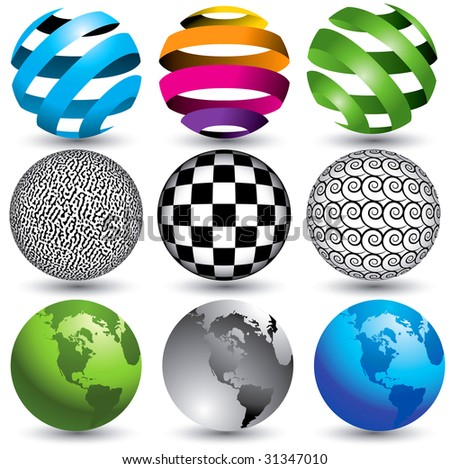 9 globes in editable vector format