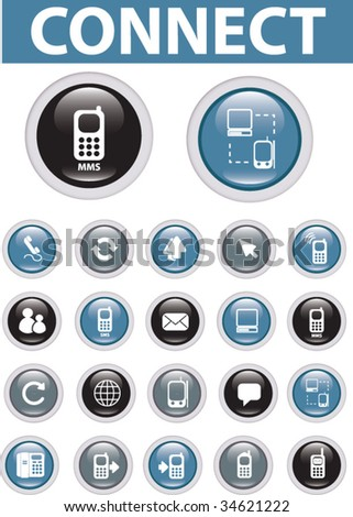 20 glossy connect buttons. vector