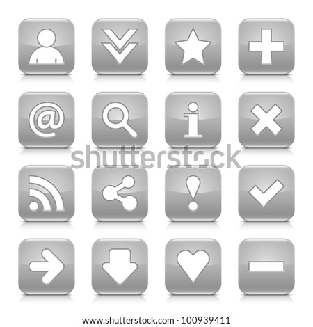 16 glossy gray button with basic sign. Rounded square shape internet web icon with black shadow and reflection on white background. This vector illustration design elements saved 8 eps