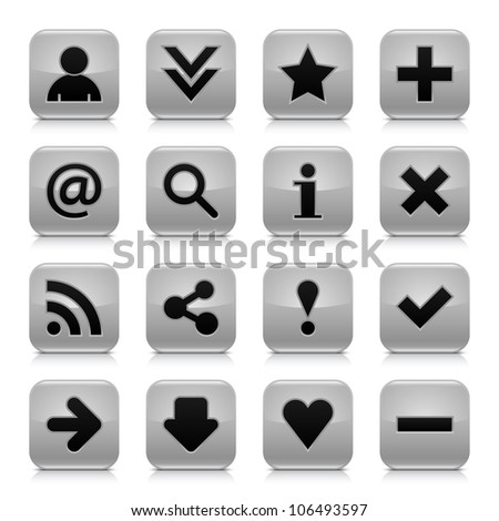 16 glossy gray button with black basic sign. Rounded square shape internet web icon with dark shadow and gray reflection on white background. This vector illustration design elements saved 8 eps