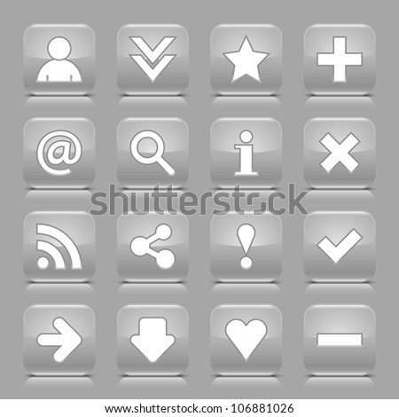 16 glossy gray button with white basic sign. Rounded square shape internet web icon with black shadow and reflection on light gray background. This vector illustration design elements saved 8 eps