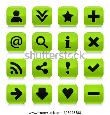 16 glossy green button with black basic sign. Rounded square shape internet web icon with dark shadow and gray reflection on white background. This vector illustration design elements saved 8 eps