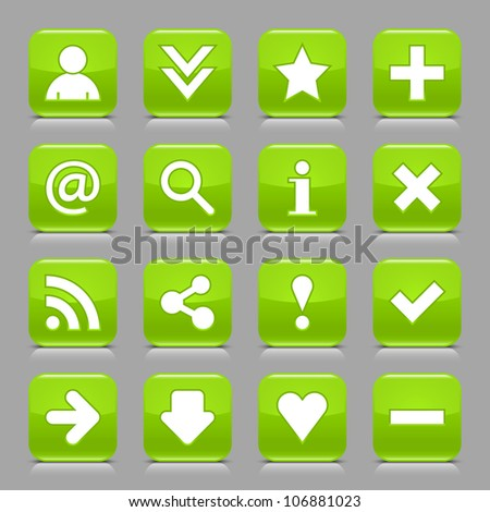 16 glossy green button with white basic sign. Rounded square shape internet web icon with black shadow and reflection on light gray background. This vector illustration design elements saved 8 eps