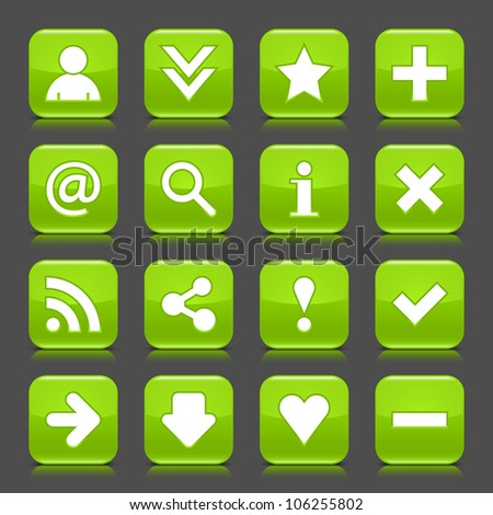 16 glossy green icon with basic sign. Rounded square shape internet web button with color reflection and black shadow on dark gray background. This illustration vector design elements saved 8 eps