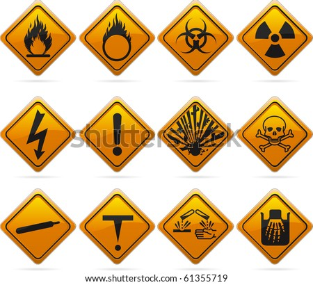 12 glossy hazard signs. The highlights are on one layer if a flat look is prefered. The signs have not been flattened and are broken up into layers for easy editing.