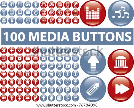 100 glossy media buttons, vector