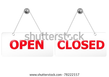 2 Glossy Open And Closed Door Signs Board Isolated On White Background Vector Illustration