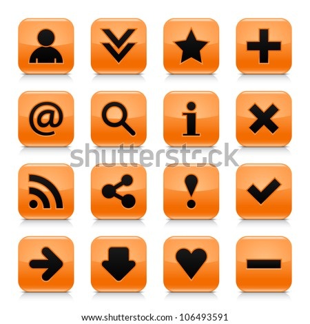 16 glossy orange button with black basic sign. Rounded square shape internet web icon with dark shadow and gray reflection on white background. This vector illustration design elements saved 8 eps