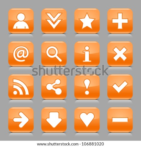 16 glossy orange button with white basic sign. Rounded square shape internet web icon with black shadow and reflection on light gray background. This vector illustration design elements saved 8 eps