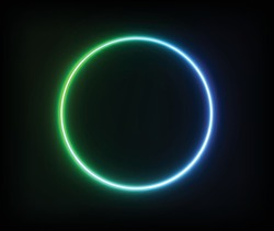 Glowing green blue neon circle. EPS 10.
