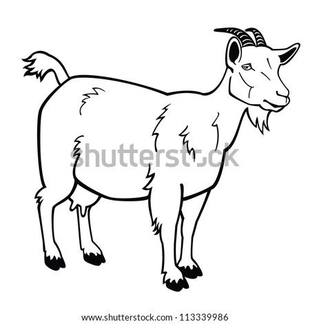 Stock Vector Goat Black And White Vector Picture Side View Image Isolated On White Background