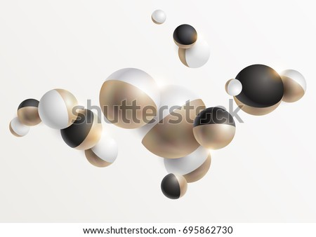 Gold and black 3D balls